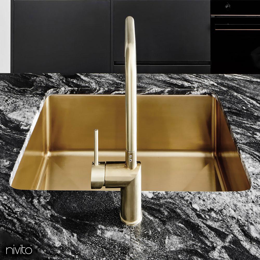 Oro dorato ottone lavello cucina
